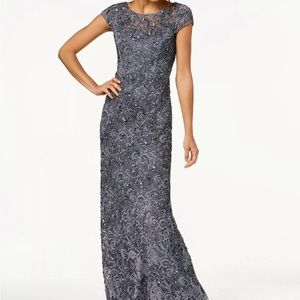 Adrianna Papell Beaded Lace Illusion Dress - NWT!